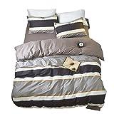 Reversible Striped Duvet Cover Set Queen Modern 3 Piece Cotton Bedding Set Full Hotel Quality Teens Men Boys Duvet Comforter Cover Set Luxury Soft Full Queen Bedding Collection