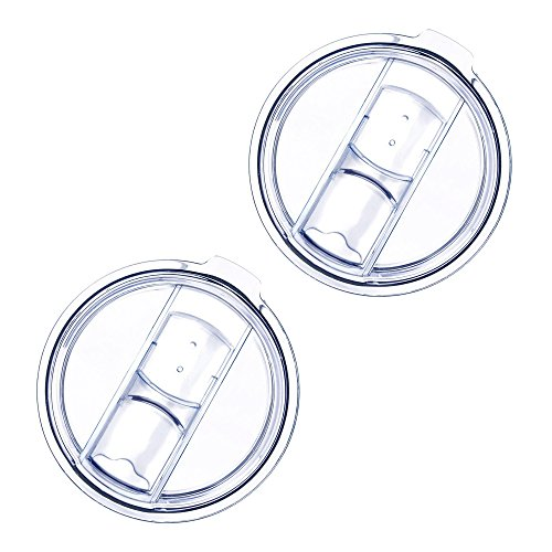 20 Oz Tumbler Lids, 2 Pack of Spill-Proof Splash Resistant Lids Replacement Covers for 20-ounce YETI Rambler, Ozark Trail, Rtic Tumblers and Cups (Clear)