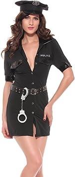 FENGHAO Disfraz de Disfraz Negro para Mujer Disfraz de policía y ...