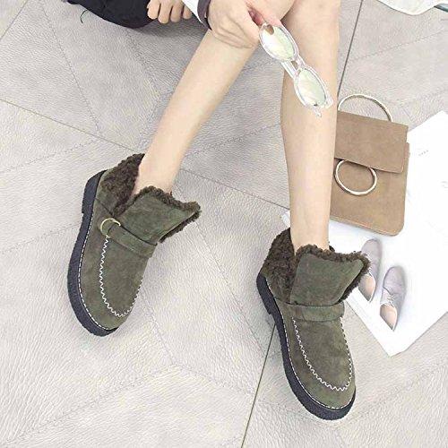 mujeres moda para goma Informal nuevos nieve única talón de la NSXZ de botas 120W de del botas gruesa de botas además cálidas mujer invierno planos terciopelo qxUwpYz