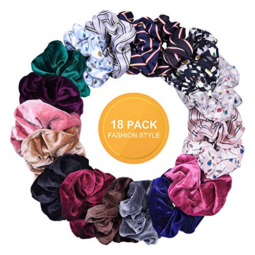 (Airbee Hair Scrunchies 18 Colors Velvet Scrunchies, Satin and Chiffon Scrunchies, Hair Bands Scrunchy Ties Ropes Elastic Cute Scrunchie Pack Accessories for Women Girls kids (18 Pcs, 3 Styles))