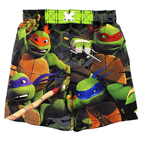 TMNT Teenage Mutant Ninja Turtles Boys Swim Trunks Swimwear (4, Turtle Green)