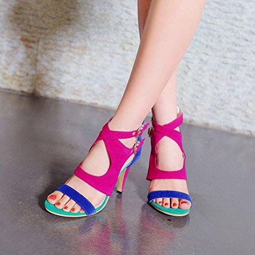 Carolbar Kvinna Multi Spänne Zip Blandade Färger Sexiga Mode Klänning Hög Stilett Klack Sandaler Blå