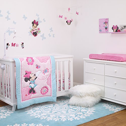 Disney Minnie Mouse 3Pc Crib Bedding Comforter, Sheet, Skirt