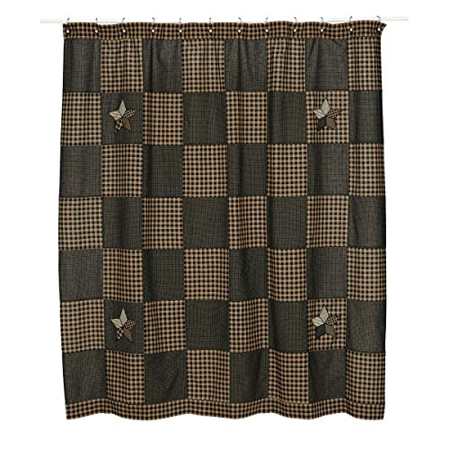 VHC Brands Classic Country Primitive Bath - Farmhouse Star Black Shower Curtain, 72 x 72,