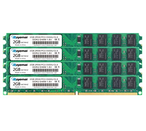 ROYEMAI 8GB(4x2GB) DDR2 667MHz PC2-5300 240-Pin 2RX8 1.8V CL5 DIMM DDR2 RAM Memory Module for Desktop