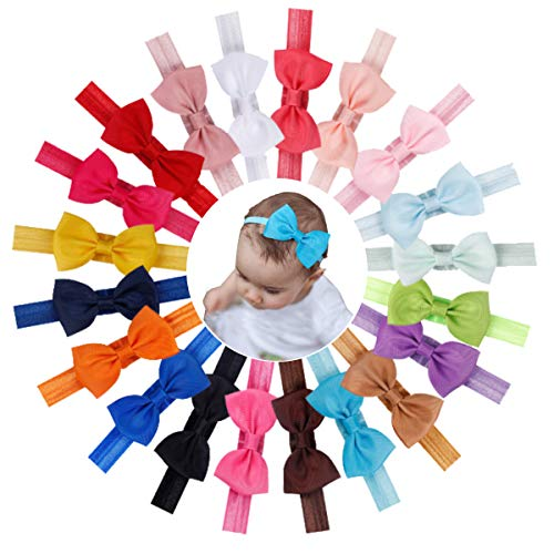 20Pcs Baby Girls Headbands 3 Inch Grosgrain Ribbon Bows Headbands Small Hair Bows Bands for Baby Girls Infant Newborns