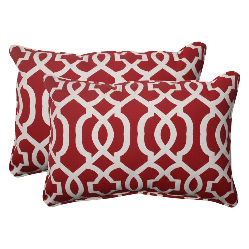 Pillow Perfect Outdoor New Geo Corded Oversized Rectangular Throw Pillow, Red, Set of 2