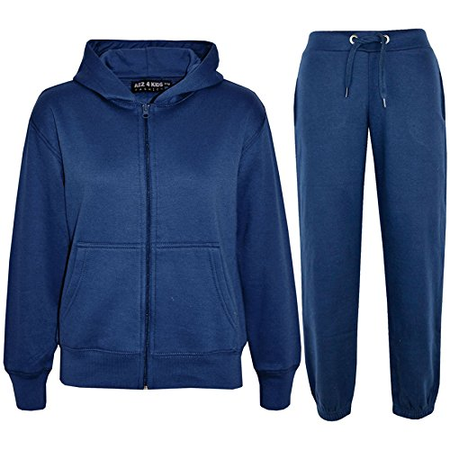 Price comparison product image a2z4kids Kids Girls Boys Plain Tracksuit Hooded Hoodie Bottom Jog Suit Joggers 7-13 Year