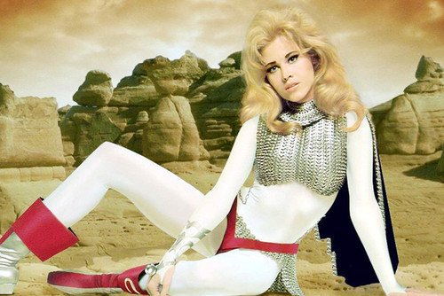 Barbarella Costume - Jane Fonda Barbarella 24X36 Poster Stunning On Planet Surface In White Costume