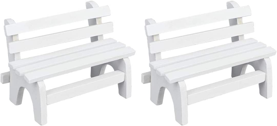 Dedoot Miniature Bench Ornament, Pack of 2 Dollhouse Mini Park Bench Wooden Miniature Furniture Bench Chair for DIY Craft Home Fairy Dollhouse Garden Decoration - Whit