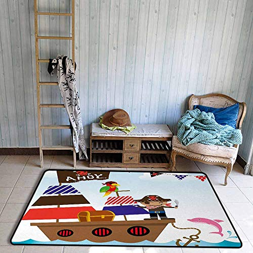 Children's Rug Ahoy Its a Boy Cute Pirate Kids Treasure Chest with Ship on Ocean Background Illustration Anti-Fading W55 xL63 Multicolor