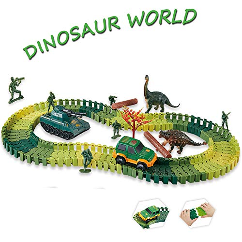 (Dinosaur Race Track Toys Jurassic Dinosaur World Create Road with 96 Flexible Tracks Playset Toy Cars Tank Dinosaurs Soldier Toys ect. Perfect Toy Gifts for 3+Year Boys)