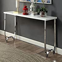 Trina Contemporary Sofa Table, White&Chrome
