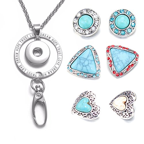 Soleebee Interchangeable Fashion 34 5 Inches Silver Chain Trust Love Id Badge Lanyard Necklace Bonus 6 Pcs Alloy Rhinestones Snap Buttons  Turquoise
