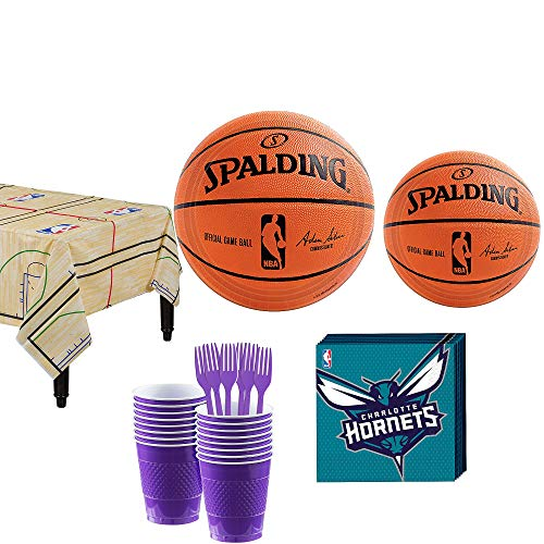 Party City Charlotte Hornets Party Kit and Supplies for 16 Guests, Includes Table Cover, Plates, Napkins and More