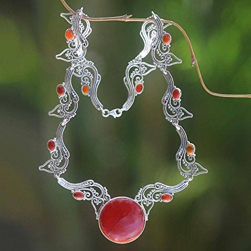 NOVICA Carnelian .925 Sterling Silver Heart Shaped Necklace, 17.75 Majapahit Empress