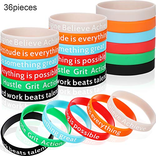 (36 Pieces Motivational Bracelets Silicone Wristbands Inspirational Bands with Inspirational Messages for Studying Competing Working, 6 Styles)