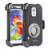 S5 Case,Shockproof S5 Case,Military scratch proof Protective Case and Holster for Samsung Galaxy S5 - Extremly Protective Dual layer Case with 360 Degrees Swivel Ring Kickstand and Rugged Face-in and out Holster (Black)