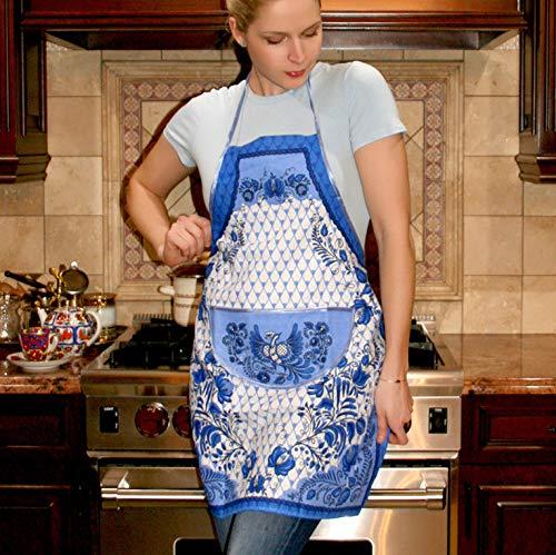 Tailor Company 100/% Cotton Gzhel Apron for Women//Men Russian Gzhel Pattern