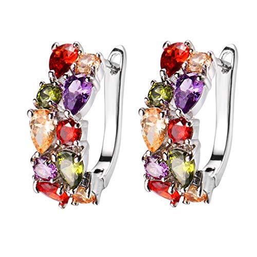 Women Gemstone Earrings Peridot Garnet Amethyst Morganite Fashion Jewelry (Clip-on Earrings)