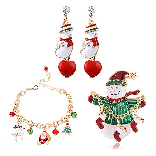 MOLLYCOOCLE Accessories Christmas Tree Santa Claus Bead Ornament Bracelet with Snowman Earrings & Santa's Brooch Best Gifts for Women Girls (Snowmans Best Friend Rhinestone)