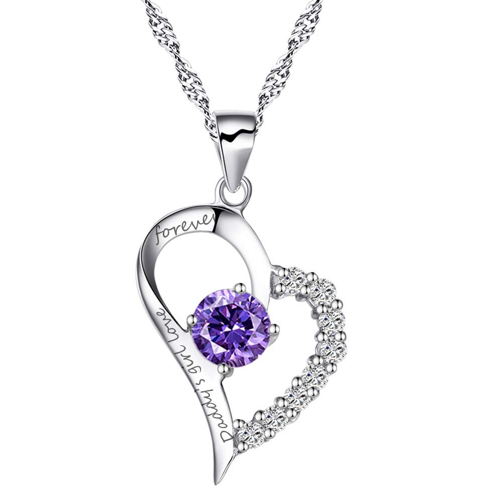 Chaomingzhen Sterling Silver Heart Pendant Enhancer Women Necklace Amethyst Daddy's Girl Love Forever by Chaomingzhen