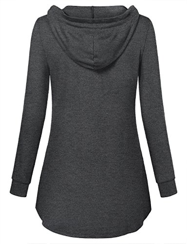 Miusey Plain Hoodie, Women V Neck Knit Sweater Blusas Elegantes Athleisure Travel Semi Formal Top Breathable Clothes Different Carbon Sweet Sweat Shirt with Pleats Charcoal Black L