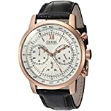 GUESS Men's Quartz Stainless Steel and Leather Casual Watch, Color:Black (Model: U0916G2)