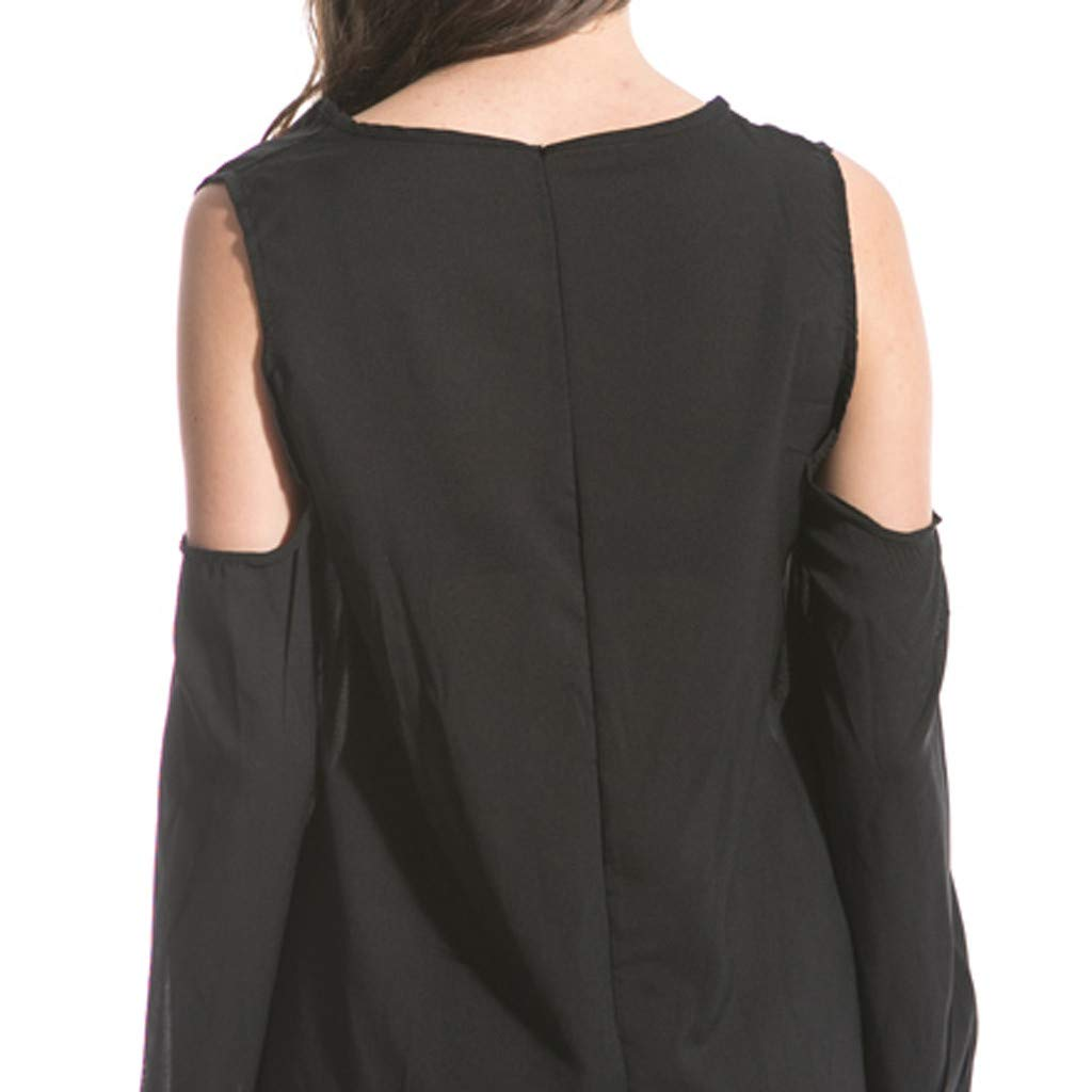 Clothful  Women Dress, Women Fashion Chiffon Solid V-Neck Long-Sleeved Shoulder Hollow 6XL Loose Dress Black by Clothful (Image #5)