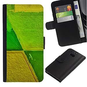 WINCASE ( No Para HTC ONE Mini 2) Cuadro Funda Voltear Cuero Ranura Tarjetas TPU Carcasas Protectora Cover Case Para HTC One M8 - agricultura agrícola amarillo verde abstracto