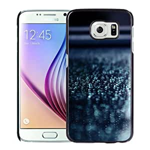 NEW Unique Custom Designed Samsung Galaxy S6 Phone Case With Macro Water Drops Blue Surface_Black Phone Case