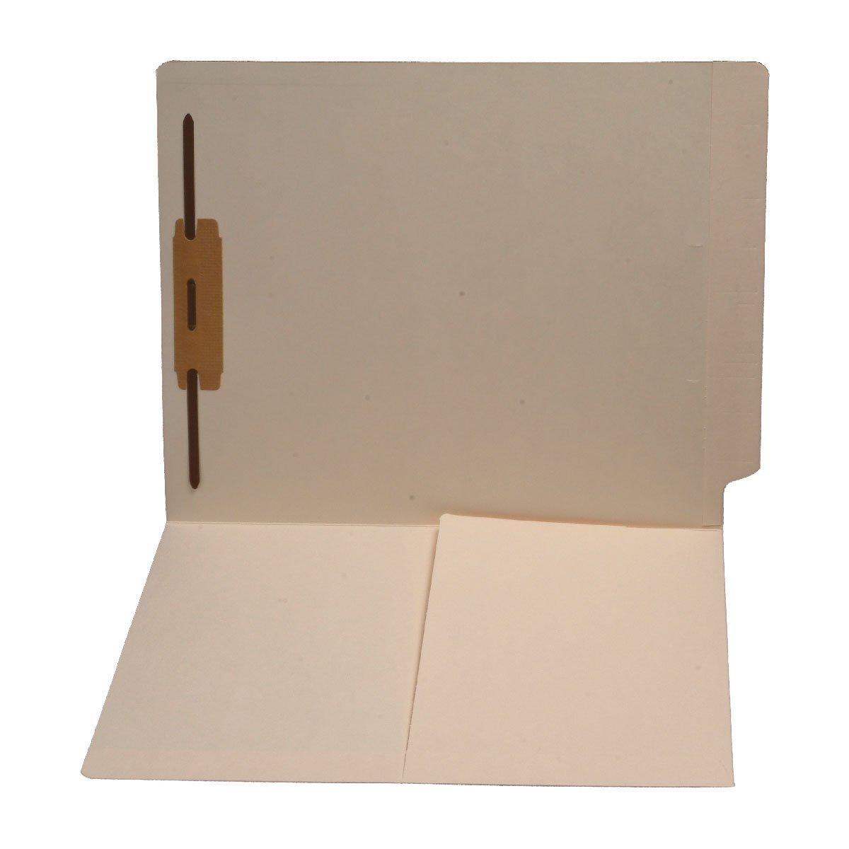 11 pt Manila Folders, Full Cut End Tab, Letter Size, 1/2 Pocket Inside Front, Fastener Pos #1 (Case of 250)