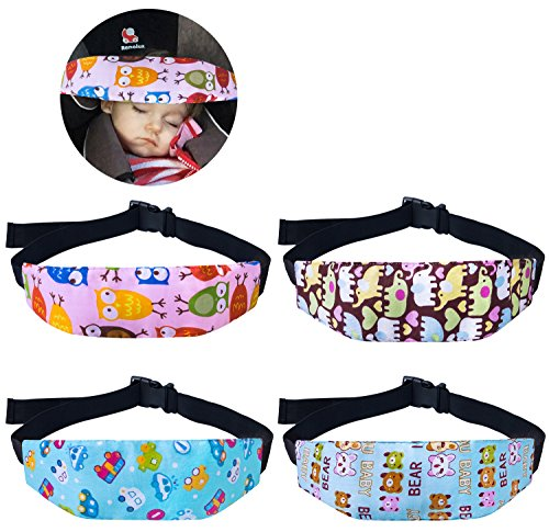 4 Pcs Toddler Car Seat Infants and Baby Head Support, Car Seat Neck Relief Head Strap, Safety Stroller Adjustable Head Holder Sleep Belt from Dollshouse