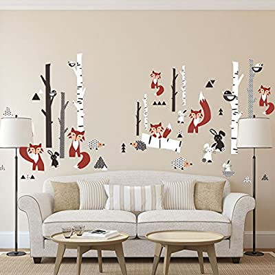 DecalMile Large Animals Forest Wall Stickers Fox Rabbit Tree Wall Decals Peel and Stick Removable Vinyl Wall Art for Kids Room Living Room Bedroom