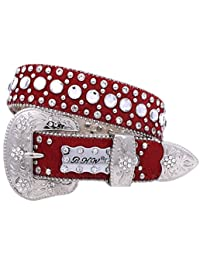 Western Girl's Kids Crystals Red Genuine Exotic Leather Show Belt