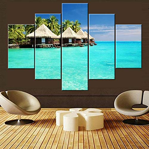 Bedroom Pictures Wall Decor Maldives Island Sea Scenery Paintings 5 Piece Prints Canvas Wall Art Contemporary Home Decoration Giclee Premium Quality Artwork Framed Stretched Ready to Hang(60''Wx40''H)
