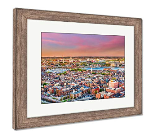 Ashley Framed Prints Boston, Massachusetts, USA Cityscape Over North End, Wall Art Home Decoration, Color, 34x40 (Frame Size), Rustic Barn Wood Frame, AG32783972