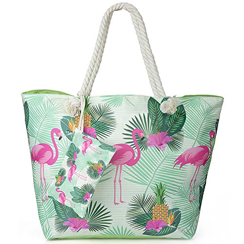 Tote Shopping ZWOOS Women for Large Flamingo Travel Zip with and Shoulder Beach Bag Girls Holiday Oversized Bag Jungle w0fqYR
