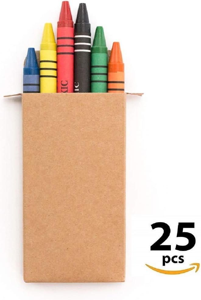 MIRVEN 25 Sets de Ceras de Colores. Cada Uno con 6 Ceras para Colorear. Regalo Ideal para Detalles de Fiestas de Cumpleaños Infantiles, Piñatas.