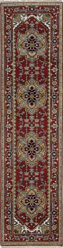 Ecarpetgallery Hand-Knotted Serapi Heritage Geometric 2' x 10' Red 100% Wool Area Rug from eCarpet Gallery