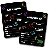 First and Last Day of School HDG-1143 ( Set of 2 ) Chalkboard Style Photo Prop Tin Signs 9 x 12 inch - Reusable Easy Clean Back to School, Customizable with Liquid Chalk Markers (Not Included)