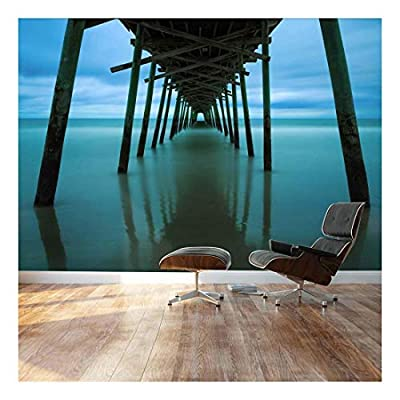 Peaceful Jetty Leads into Ocean - Landscape - Wall Mural, Removable Sticker, Home Decor - 100x144 inches