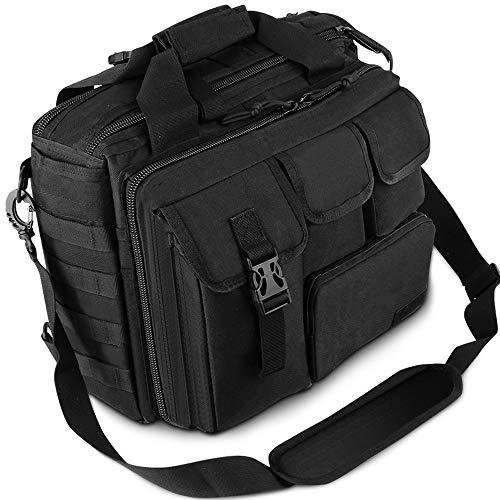 "Men's Military Laptop Messenger Bag Multifunction Outdoor Tactical Briefcase Computer Shoulder Handbags for 17"" Laptop (Black)"