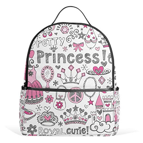 Cute Cartoon Princess Ornament School Chic Backpack Canvas Rucksack Large Capacity Satchel Casual Travel Daypack for Kids Girls Boys Children Students, 3-9 Years Old