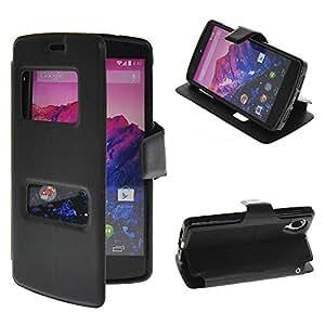 Wadinter [Negro] [View Window] Funda Carcasa PU de Cuero Ultra Delgado Flip Folio Case Cover Wallet Billetera Soporte Stand for Google LG Nexus 5