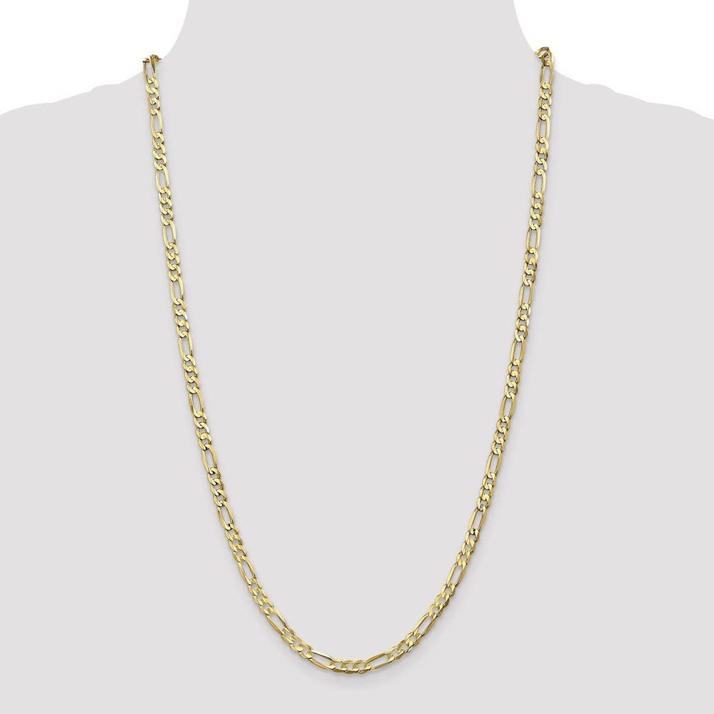 Mireval 10K White and Yellow Gold Figaro Chain Necklace Collection 16-30