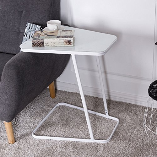 Tangkula End Table C Shape Glass Top Steel Frame Accent Side Snack Coffee Sofa - Glasses Shapes Frame