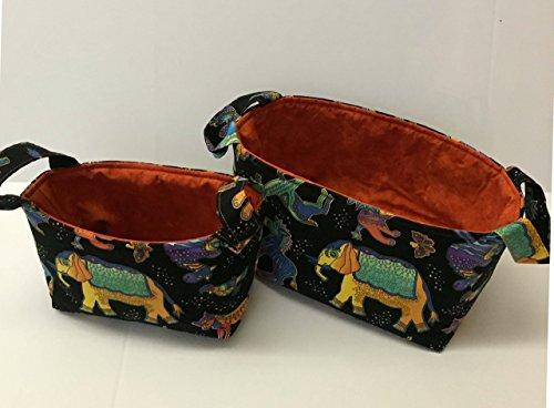 TRIBAL PRINT, Elephants, Southwest, Handmade basket, Storage Bin, Fabric Caddy, Fabric Basket, Fabric Organizer,Project Caddy,Ready to Ship