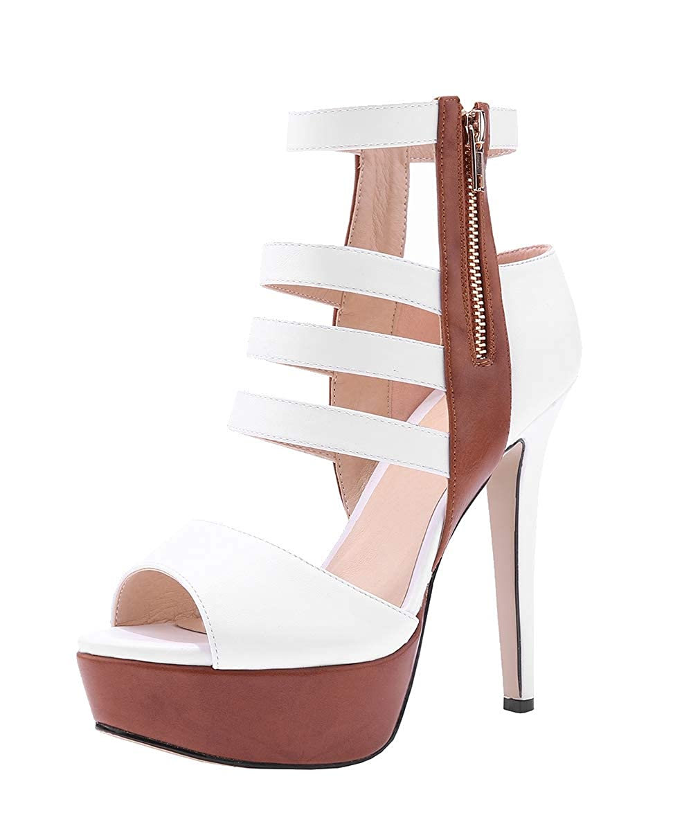 8ab4e111a5 Amazon.com | Womens Peep Toe Platform Stilettos Pumps High Heels Strappy  Lace Up Dress Sandals Shoes | Heeled Sandals